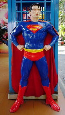 CHACHOENGSAO,THAILAND - FEBRUARY 02, 2019: Super Man model stands in the the Wat Saman Rattanaram temple area Editoriali