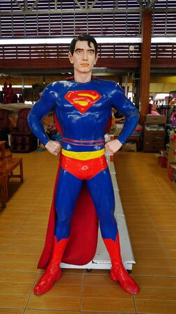 CHACHOENGSAO, THAILAND - FEBRUARY 02, 2019: Super Man model stands in the the Wat Saman Rattanaram temple area