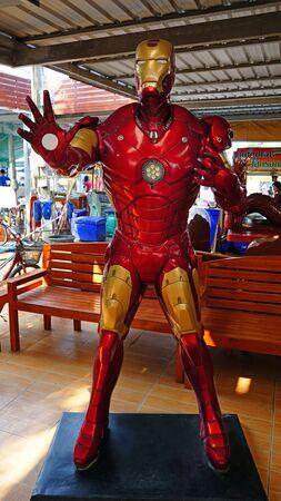 CHACHOENGSAO, THAILAND - FEBRUARY 02, 2019: Iron Man model is shown in the Wat Saman Rattanaram temple area Editoriali