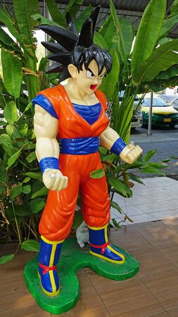 CHACHOENGSAO, THAILAND - FEBRUARY 02, 2019: Goku model characters from series DRAGONBALL, stands in the the Wat Samanrattanaram temple area Editoriali