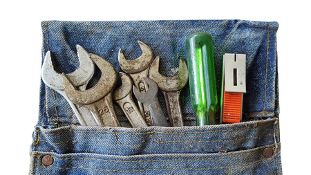 toots in old tool bag on white background Stock Photo