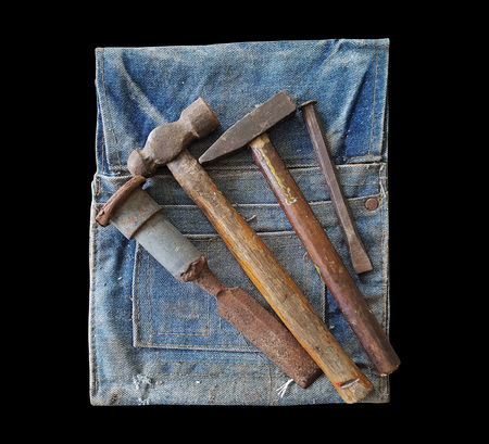 tools on tool bag on back background