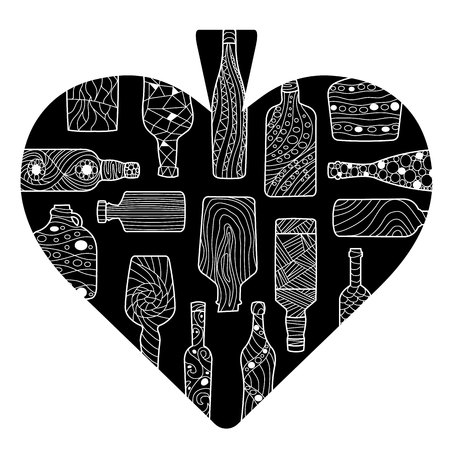 pictured: Black spades heart with bottles pattern