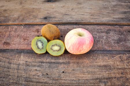 innate: Fruits on the wooden floor Stock Photo