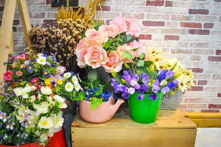 antecedents: Fake flowers for interior decoration Stock Photo