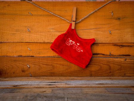 antecedents: The word love on a red shirt.