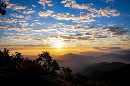antecedents: Landscape of sunrise over mountain.