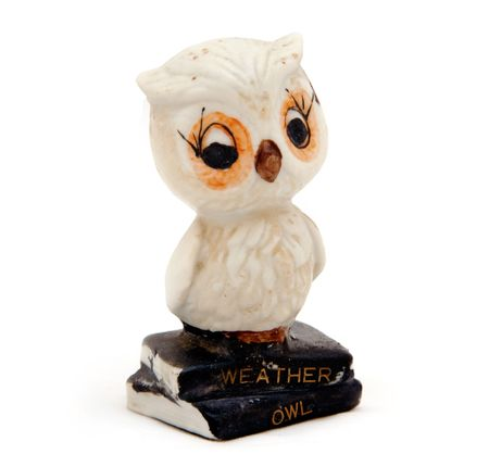 forecaster: An old ceramic weather owl that changes color depending on the weather, isolated against white.