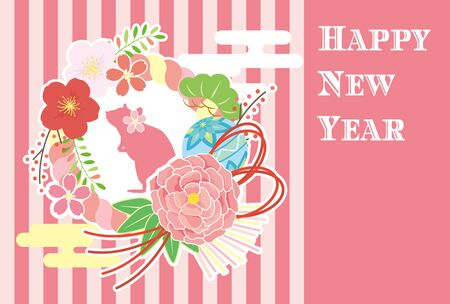 New year card template. Girly new year decoration