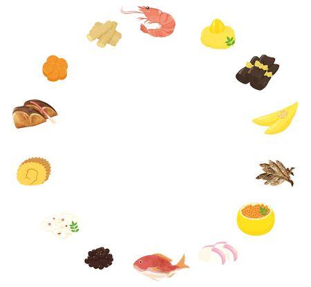 Japanese New Year Dishes Circle Frame / osechi