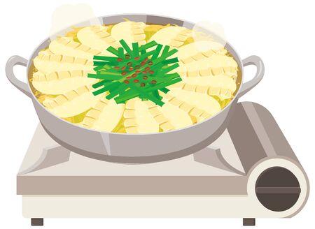 Gyouza Nabe : Dumpling hot potJapanese food Illustration