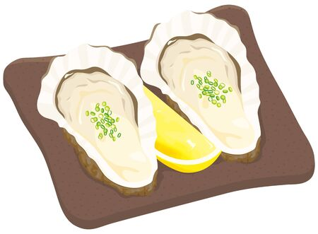 Raw oysters, green onion and cut lemon