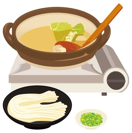 Japanese hot pot and Udon. Udon:wheatJapanese food