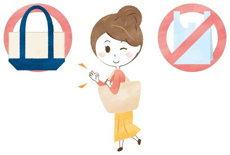 A woman wearing an eco bag. Reduce the use of plastic bags.