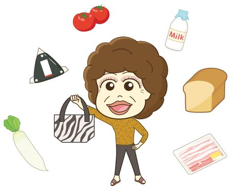 Aunt and food ingredients holding a tote bag Illustration
