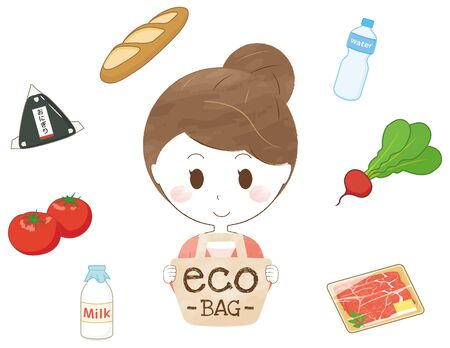 A woman with an eco bag and ingredients
