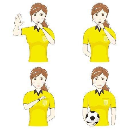 Female Football Referee Gesture Set: Upper Body Illusztráció