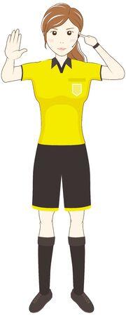 Female Referee Showing VAR (Video Assistant Referee) Illusztráció