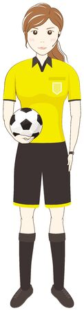 Female referee holding a soccer ball