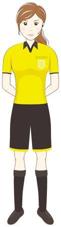 Football Female Referee: Vector Illustration