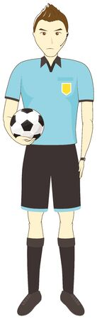 Referee holding a soccer ball