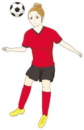 Female football player heading the ball