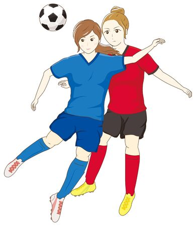 Female football players competing for the ball