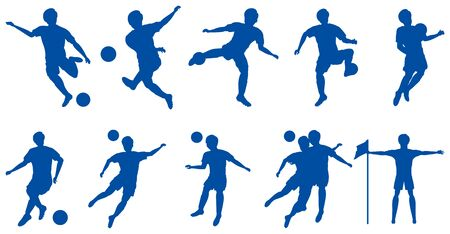 Male football player silhouette set Vettoriali