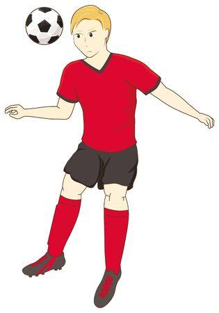 Football player heading the ball