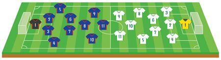 Soccer field and formation. illustration Vector Vettoriali