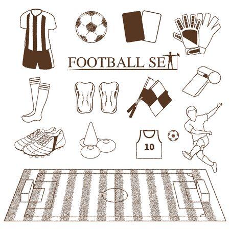 Football (soccer) item illustration set