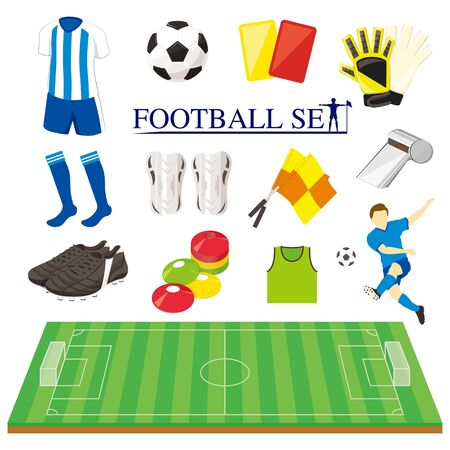 Football (soccer) item illustration set