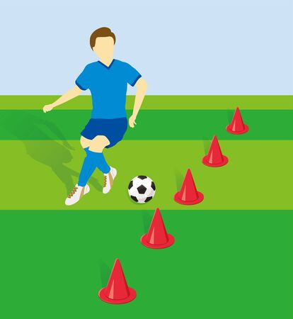 Football player practicing dribbling with side by side cones Stock Illustratie