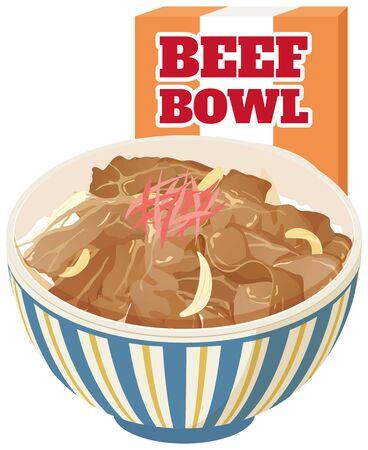 Instant food beef bowl (Gyudon): Japanese food Illustration