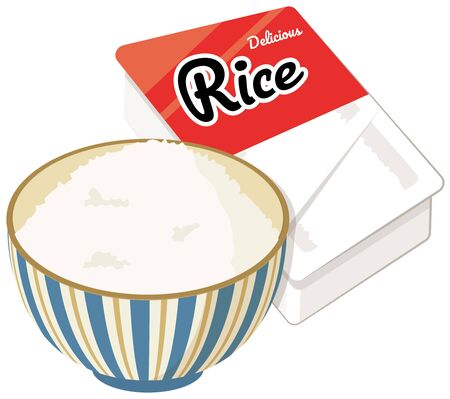 Pre-packaged food rice and bowl.
