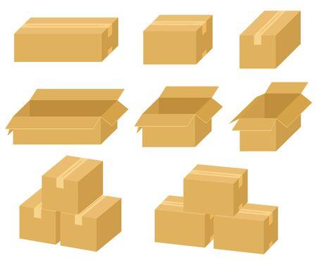 Various cardboard sets. illustration Vector Ilustração