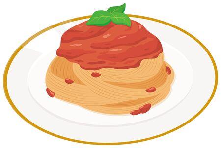 Italian food meat pasta. illustration Vector