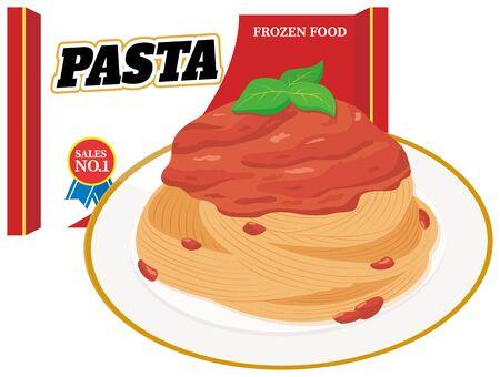 Frozen food pasta. illustration Vector Illusztráció
