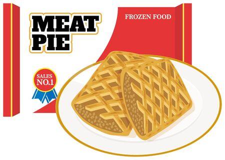 Frozen meat pies. illustration Vector