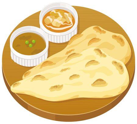 Nan curry set : vector illustration Vector Illustratie