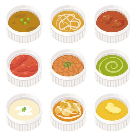 Various kinds of curry set Illustration