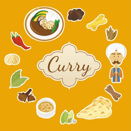 Lots of spices and curry sets Illustration