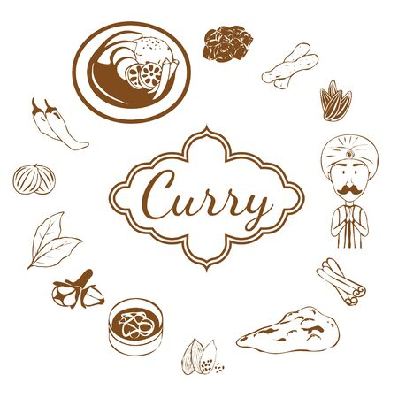 Lots of spices and curry sets Иллюстрация
