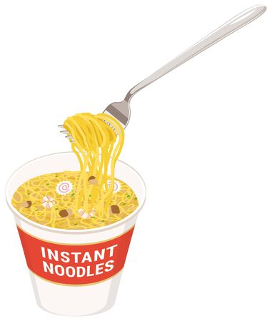 Hold cup ramen noodles with a fork
