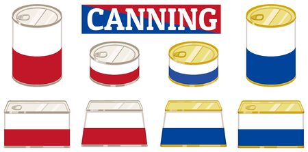 Various canned sets. illustration Vector