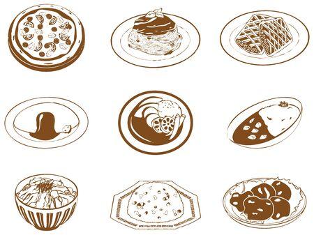 Handwritten style food vector illustration set