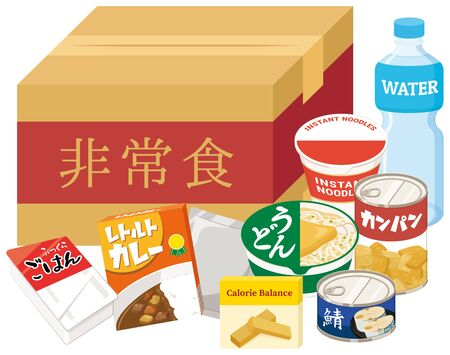 """Emergency food set for disasters and natural disasters. """"Japanese : Emergency food, rice, curry, udon, dried bread, mackerel"""""""