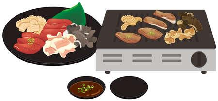 Grilled Meat Hormone Roaster illustration Illusztráció