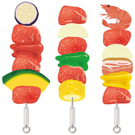 Meat and vegetables on skewers, perfect for BBQ Vettoriali