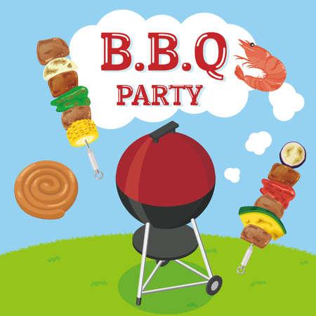A fun barbecue image. Vector illustration.